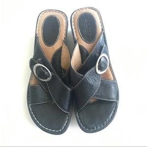 Born Brown Wedge Sandals Slides Size 10 EUR 42